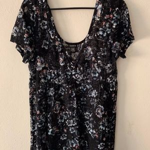 Black Lace Floral Overlay**